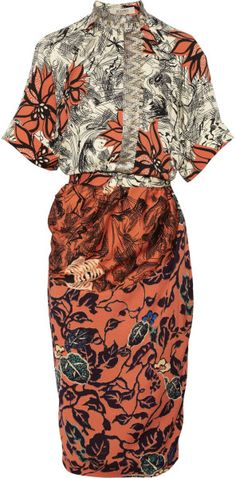 Love this: Embellished Printed Silk Crepe De Chine Dress @Lyst