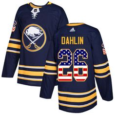 ce9143f59 Adidas Sabres  26 Rasmus Dahlin Navy Blue Home Authentic USA Flag Stitched  NHL Jersey Pat