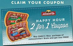 BOGO FREE Johnsonville Brats Mailed Coupon on http://hunt4freebies.com/coupons