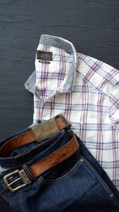 19b41294 Classic Men's Fashion by Jachs NY, Plaid button down, denim and leather  accessories #