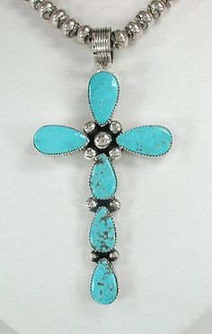 Native American Navajo Sterling Silver Turquoise Cross Pendant