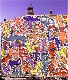 Keith Haring Pisa Mural, 1989  Mural  This mural is painted on the exterior wall of the Church of Sant'Antonio. It was executed at the request of the City of Pisa and still exists #poppingupdoc #popsurrealism #pop #popart #streetart #Graffiti #artederua #art #artwork #contemporaryart #modernart #realcreativeart #watercolor #urbanart #cores #colores #colors #sprayart #intervention #urbanintervention #lowbrow #lowbrowart #imaginativestreetart #streetart #art #murals…