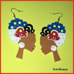 Wooden Earrings ~ Colorful Hair ~ Black Chicks, African Girl, Elephant Head, Glitter Lips, Wooden Earrings, Colorful Hair, Fashion Earrings, Dangles, Hair Color