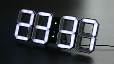 White & White LED Clock Black Edition