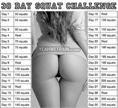 30 Day Squat Challenge - Healthy Fitness Workout Training Butt
