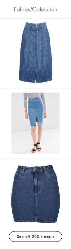"""""""Faldas/Coleccion"""" by veydarli-yanci ❤ liked on Polyvore featuring skirts, denim, button front denim skirt, high waisted denim skirt, high waist skirt, denim midi skirts, midi skirt, blue, high waisted knee length skirt and knee length pencil skirt"""
