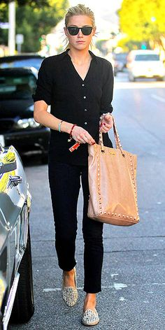 Classic black on black with neutral bag