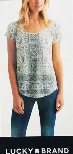 5ef703f2a0cc6 Lucky Brand womens graphic T-shirt top XXL Paisley Ivory Gray 2XL NWT   LuckyBrand