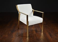 Modern Metal Framed Arm Dining Chair with Brushed Gold Stainless Steel Frame Available in White orBlack Naugahyde