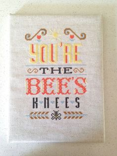 Bee's Knees - modern cross stitch pattern - Typography Inspired - PDF - instantly downloadable