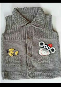 boys vest with ribbing detail - PIPicStats Baby Knitting Patterns, Baby Boy Knitting, Kids Patterns, Knitting For Kids, Baby Cardigan, Baby Pullover, Pullover Design, Sweater Design, Baby Bikini