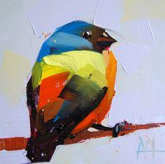 Painted Bunting no. 20 original bird oil painting by Angela Moutlon prattcreekart