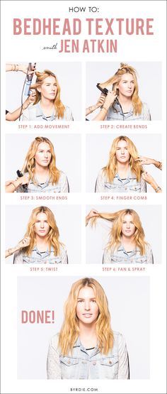 A tutorial from celebrity hairstylist Jen Atkin for perfectly tousled bedhead hair
