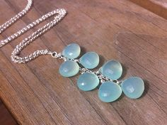 Aqua Chalcedony Briolette Necklace // Cascade Necklace on Etsy, $78.00
