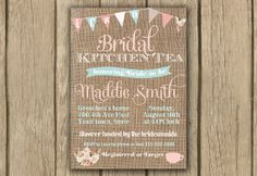 bridal kitchen tea invite; shabby chic invite, afternoon tea invite, by DulceGracePrintables