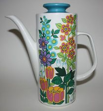 J & G MEAKIN STUDIO GARDEN PARTY COFFEE POT c1973 BY JESSIE TAIT VINTAGE 70S