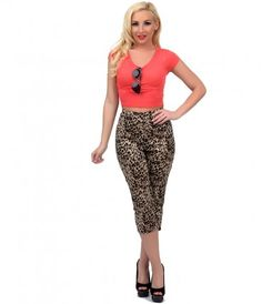 We thought we had you pegged, dear! A pair of kittenish black and brown vintage style cropped capris from Sourpuss, comp...Price - $46.00-yGurMhqT