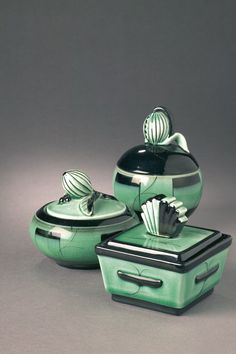 Ceramics by Ilse Claeson. Though not one of the most famous designers from the 1900s, her black-green pottery with clear Art Deco touches, is easily recognizable.