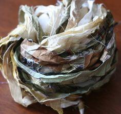 Mixed Neutrals Recycled Silk Sari Ribbon Yarn