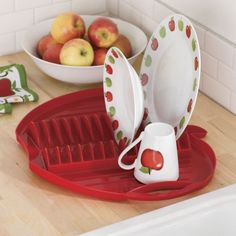 Red apple collection canister set apple country for the home pinterest apple kitchen decor for Home interiors apple orchard collection