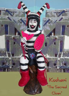 Koshare, Sacred Clown of the Hopi.  He is viewed as the conscience of the Hopi...exaggerating all of the undesirable traits of man to set an example for proper behavior. $45.00