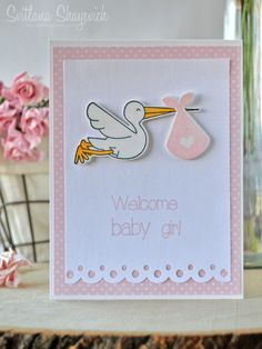 Clean and Simple welcome baby girl card.  Stamps and dies: Clearly Besotted Special Delivery #cleanandsimple #card #clearlybesotted