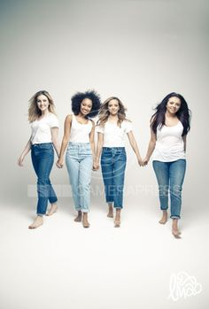 Little Mix. I love photo shots like this with them relaxed not covered in make up and jeans plus T-shirt