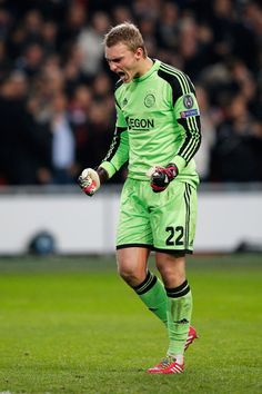 Jasper Cillessen of Ajax celebrates victory after the UEFA Champions League Group H match between Ajax Amsterdam and FC Barcelona at Amsterdam Arena on November 26, 2013 in Amsterdam, Netherlands.