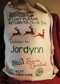 Personalized Santa Sack  Customized canvas bag  If by GlitterMomz