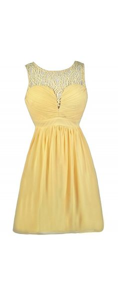 Lily Boutique Net Work A-Line Dress in Yellow, $38 Yellow A-Line Dress, Yellow Crochet Dress, Yellow party Dress, Yellow Cocktail Dress www.lilyboutique.com