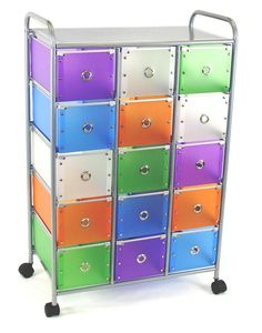 15 Multi-Colored Medium & Small Drawer Rolling Cart