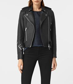 Women's Stayte Leather Biker Jacket (Black) -