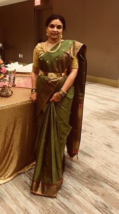 South Indian Saree Attire South Indian Sarees, South Indian Bride, Indian Bridal, Saree Jewellery, Gold Jewellery, Bridal Jewellery, Indian Attire, Indian Outfits, Vaddanam Designs