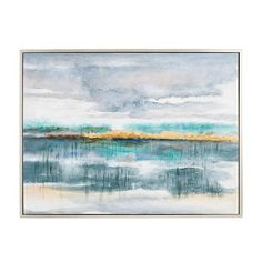 Our hand-painted wall art sets a serene mood with its abstract sea scene rendered in shades of teal, gold and gray, plus a touch of foiling, all surrounded by a pine frame. Teal Canvas Art, Teal Wall Art, Mirror Wall Art, Wall Art Sets, Wall Art Decor, Mirrors, Shades Of Teal, Teal And Grey, Teal Walls