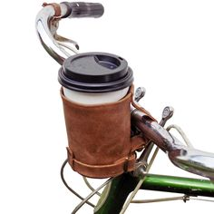 Cruzy Kuzy Leather Bike Cup Holder Handmade by Hide & Drink - Cool Kitchen Gifts Thick Leather, Bonded Leather, Canvas Leather, Bike Cup Holder, Coffee Holder, Cup Holders, Bicycle Bag, Leather Bicycle, Craft Ideas