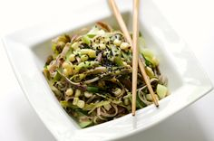 A beautiful shaved purple asparagus and Asian vegetable soba noodle dish that's gluten-free and vegan. Elegance and freshness in a bowl!
