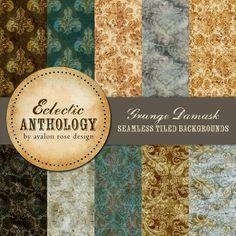 Vintage Grunge Damask Seamless Tile Graphics-royalty, free, commercial, use, digital, graphic, grunge, damask, antique, scrapbook