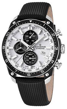 Montre Candino Chrono - Homme - C4520/1 - Quartz - Chronographe - Verre Saphir - Cadran en Acier inoxydable Noir et Argent - Bracelet en Cuir Noir - Date