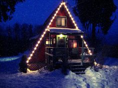 Tiny home a frame in winter.