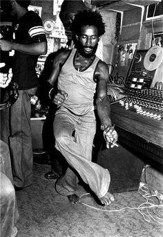 Lee Scratch Perry just dubbin' in Kingston, 1976