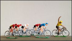 Rare vintage plastic toy Tour De France cyclists. Soooooo Cool.  Set of ten in total including race leader in yellow jersey.  Average figure size 3cm.  POA retrorumage@gmail.com