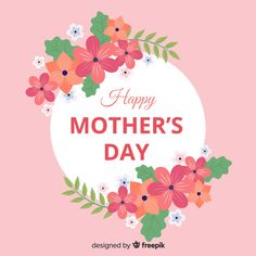 Mother's day floral frame background Fre... | Premium Vector #Freepik #vector #background Happy Mothers Day Banner, Happy Mother's Day Card, Happy Mother's Day Greetings, Mother's Day Background, Vector Background, Mother's Day Banner, Mother's Day Colors, Red And White Roses, Mother's Day Greeting Cards