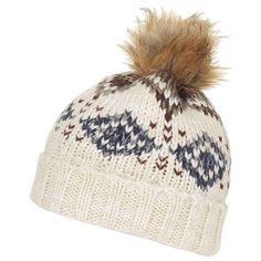 Topshop Fair Isle Beanie with Faux Fur Pompom ($26) ❤ liked on Polyvore featuring accessories, hats, beanie hats, faux fur pom pom hat, chunky knit hat, fake fur hats and pom pom hat