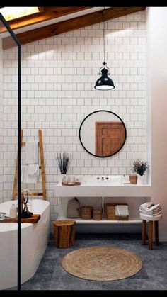 Clean lines AN ABSOLUTELY FABULOUS LOOKING BATHROOM, SO BEAUTIFULLY DECORATED WITH A WHITE COLOUR PALETTE, BROKEN BY TOUCHES OF TIMBER & BLACK!-DIVINE! ♠️