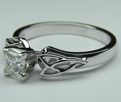 Princess Diamond Triquetra Celtic Engagement Ring in White Gold