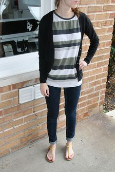 Stripes, a cardigan, and skinny jeans. What more do you need?