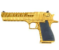 (real steel) Magnum Research Desert Eagle, .50 AE, Titanium Gold w/ Tiger Stripes - Style # DE50TG-TS, MRI Shop / Firearms