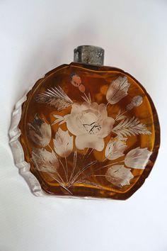 GORGEOUS ANTIQUE ART DECO PERFUME BOTTLE CUT CZECH BOHEMIA 1930 RARE COLLECTIBLE