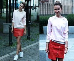 Lili S. - Mohito Houndstooth Pink&White Sweatshirt, Mohito Red Skirt - ----- R E D skirt -----