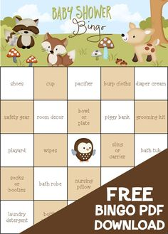 FREE!  Friends of the Forest Baby Shower Bingo.  100 pre-filled game cards.   © Kimbellished, LLC